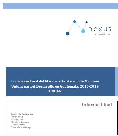 Evaluación final del UNDAF en Guatemala: 2015-2019